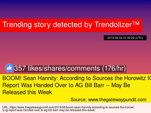 BOOM! Sean Hannity: According to Sources the Horowitz IG Report Was